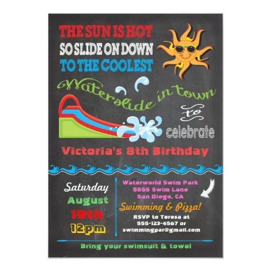 Chalkboard Water Slide Pool Birthday Party Invitations Candied Clouds