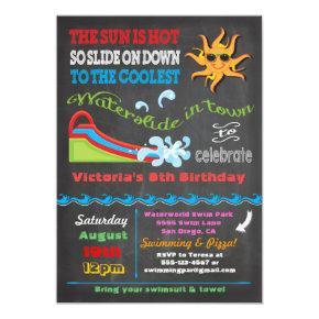 Chalkboard Water slide Pool birthday party Invitation