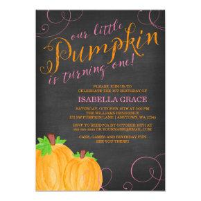 Chalkboard Watercolor Pumpkin Girl First Birthday Invitations