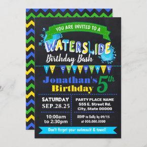 Chalkboard Waterslide birthday summer party blue Invitation