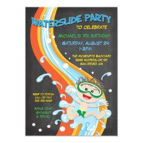 Chalkboard Waterslide Pool Party Invitations