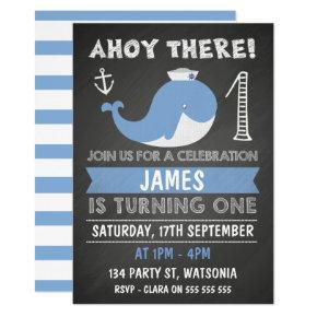 Chalkboard Whale Anchor 1st Birthday Invitation