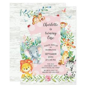 ChalkboardJungle Big One Girls Birthday Invitation