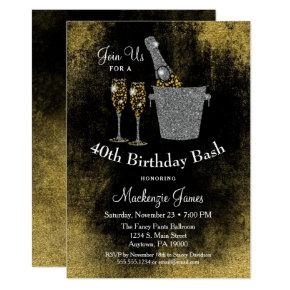 Champagne Birthday Invitations Black Gold Silver
