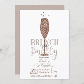 Champagne Brunch & Bubbly Rose Gold Birthday Party Invitation