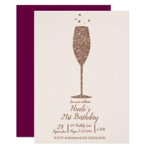Champagne Bubbly Chic Rose Gold Birthday Party Invitation