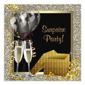 Champagne Confetti Black Gold Surprise Party Invitation