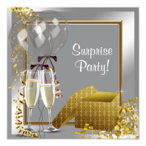 Champagne Confetti Silver and Gold Surprise Party Card