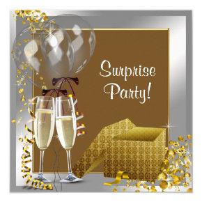 Champagne Confetti Silver Gold Surprise Party Invitation
