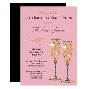 Champagne Glam Birthday Invitation Pink Gold Black
