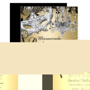Chandelier Masquerade Gold Quinceanera Invite