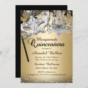 Chandelier Masquerade Gold Quinceanera Invite