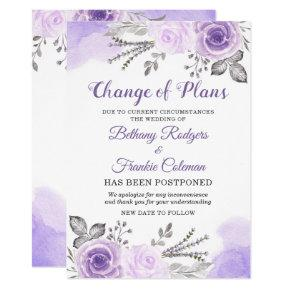 Change of Plans Announcement Chic Purple Floral