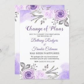 Change of Plans Announcement Chic Purple Floral