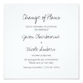 Change of Plans Reschedule Photo Wedding or Event Invitation