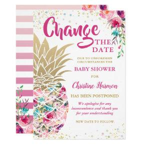 Change The Date Pink Gold Pineapple Baby Shower Invitation