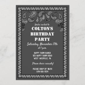 Charcoal Gray Western Bandana Print Birthday Party Invitation