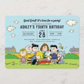 Charlie Brown and Gang Birthday Invitation