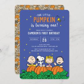 Charlie Brown and Gang Pumpkin First Birthday Invitation