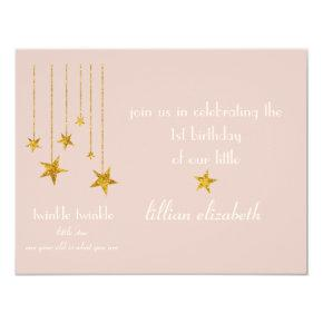 Charming Pink & Gold Twinkle Twinkle Invitation