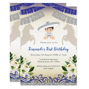 Charro Navy Blue Silver 1st Birthday invitation