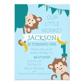 Cheeky Monkey Bananas Boys 1st Birthday Invitations