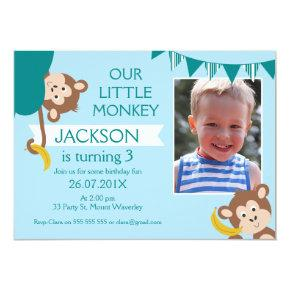 Cheeky Monkey Photo Birthday Invitation For Boy