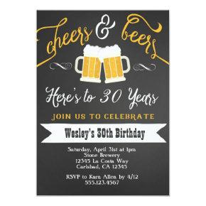 Cheer and Beers Birthday Party Invitations for Men