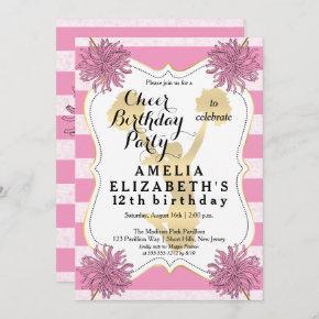 Cheer Cheerleader Pink | Gold Girl Birthday Party Invitation