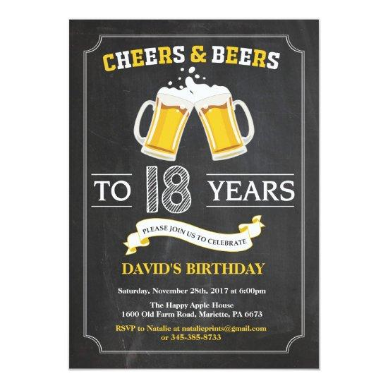 Cheers and Beers 18th Birthday Invitation