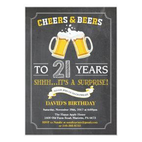 Cheers and Beers 21st Birthday Invitation