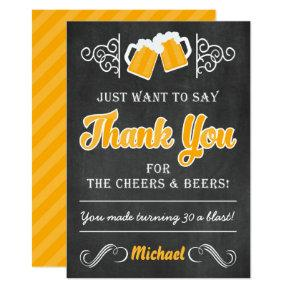 Cheers and Beers 30th Birthday Thank You Card