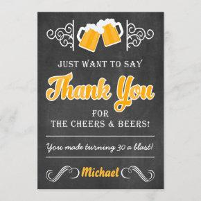 Cheers and Beers 30th Birthday Thank You Invitations