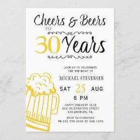 Cheers and beers 30th men casual birthday invitation