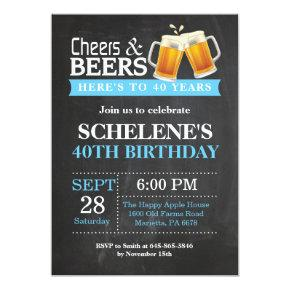 Cheers and Beers 40th Birthday Invitation Invitations