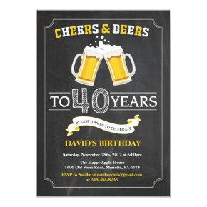 Cheers and Beers 40th Birthday Invitation