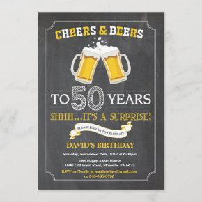 Cheers and Beers 50th Birthday Invitation
