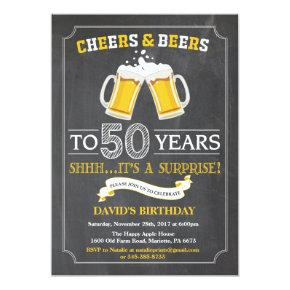 Cheers and Beers 50th Birthday Invitation Invitations