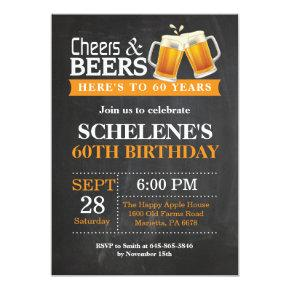 Cheers and Beers 60th Birthday Invitation