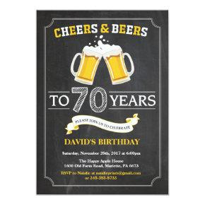 Cheers and Beers 70th Birthday Invitation Invitations