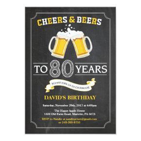 Cheers and Beers 80th Birthday Invitation Invitations