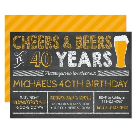 Cheers And Beers To 40 Years Birthday Invitations