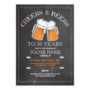 Cheers & Beers Birthday Party 21st 30th Invitations