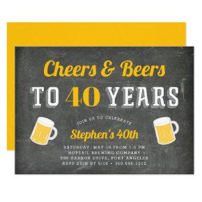 Cheers & Beers Milestone Birthday Party Invitation