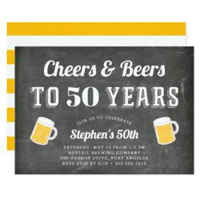 Cheers & Beers Milestone Birthday Party Invitations