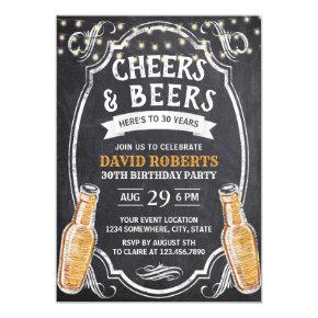 Cheers & Beers Rustic Chalkboard 30th Birthday Invitation
