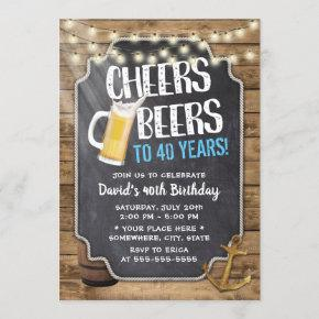 Cheers & Beers Rustic String Lights 40th Birthday Invitation