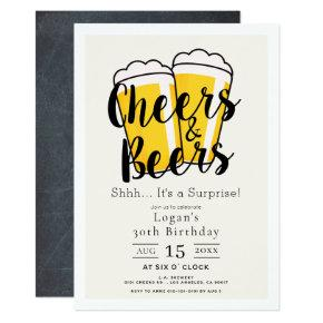 Cheers & Beers Surprise Birthday Party Invitation