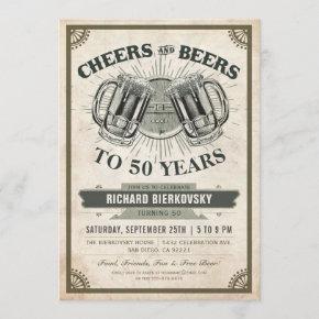Cheers & Beers Vintage Birthday Party Invitation