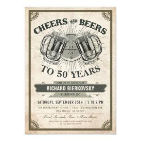 Cheers & Beers Vintage Birthday Party Invitations
